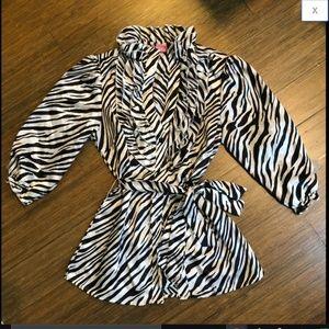 Zebra Print Satin Ruffle Collar Puff Sleeve Top M